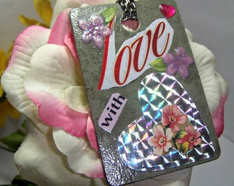 Girls Birthday Card, Gift Tag Heart Pendant, Heart Card , Party FAVOUR  - Card Hologram