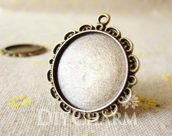 Antique Bronze Cameo Cabochon Base Settings 32x32mm ( Inner Size 25x25mm ) - 5Pcs - DS23607