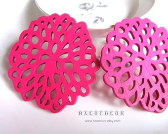 Painting Series  - 56 x 60mm Pretty Hot Pink Flower Wooden Charm/pendant MH159 06