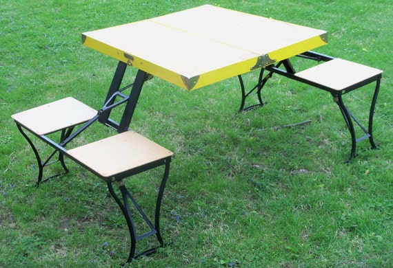 Handy Camping Stools ~ Vintage fold up picnic table handy and chair set by