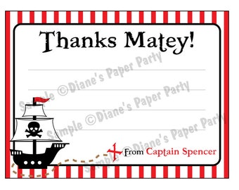 Printable DIY Pirate Thank You Card (personalized)