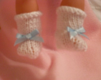 "15-16"" White Booties with Light Blue Bow"