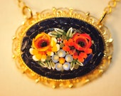 Handmade Vintage Micro Mosaic Floral Necklace