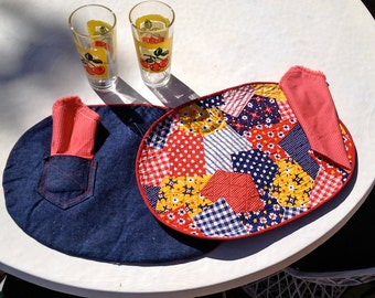 Reversible Hillbilly Placemats Napkins Set Vintage 1960s 1970s 60s 70s Calico Patchwork Polka Dot Denim Blue Jean White Trash Trailer Party