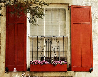 Window Photography- Charleston Window Box Print, Shuttered Window Print, Burnt Orange Shutters, Travel Photography, Charleston SC Window