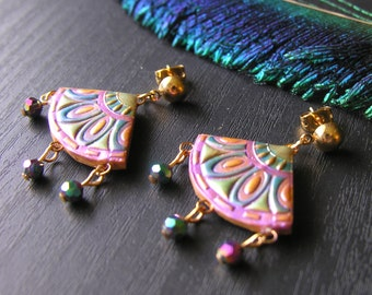 Peacock Chinese Fan Earrings with Crystal Dangles Purple, Green, Blue and Gold