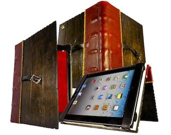 Distressed Ebony iPad Tome Case - wood and leather iPad case