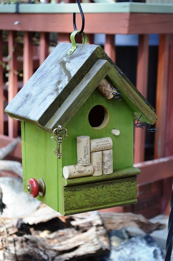 Wine Cork Birdhouse Handmade Patio Lawn Garden Yard Art
