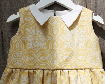 Girl's yellow dress in Swedish/Scandinavian design by Lingonberry Latitude - Ready to Ship in 3T