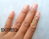 Above Knuckle Ring, Loop style Adjustable Midi Ring, 2 Gold or Silver Plated,Stackable rings, Edgysheeq statement rings for everyday Flair