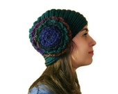 Multicolor Knit Hat with a Big Flower  - Green Beanie - Beret - Fall Winter Fashion - Women and Teens Accessories
