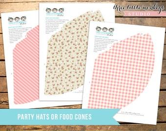 Vintage Farm Fresh Party Hats Food Cones INSTANT DOWNLOAD