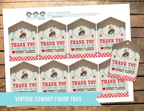 Personalized Vintage Cowboy Favor Tags