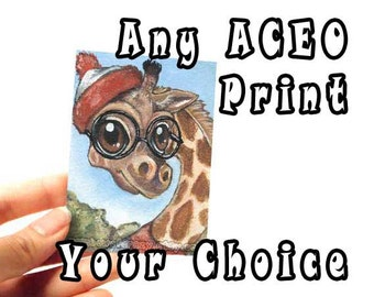 ACEO Art Print of Your Choice, Any Print, Art Cards, Small Print, Choose Your Own, Animal Illustration