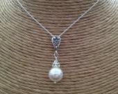 WHITE Swarovski Round PEARL Pendant Necklace - Rhinestone Bail - Wedding - Bride - Bridesmaid - Crystal Pearl Dangle - Made in USA
