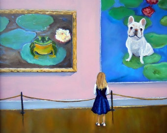 "French Bulldog Art Print of an original oil painting / ""Frog Dog Exhibit At The Museum"" / 8 x 10 / Dog Art"