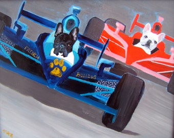 "French Bulldog Art Print of an original oil painting- ""Indy 500""- 8 x 10 - Dog Art"