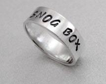 Doctor Who Inspired Skinny Ring - Snog Box - Hand Stamped Aluminum Wraparound Ring