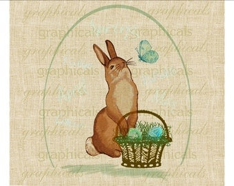 Spring bunny Easter basket butterfly egg shape instant Digital download image for iron on fabric transfer burlap decoupage pillows No. 585