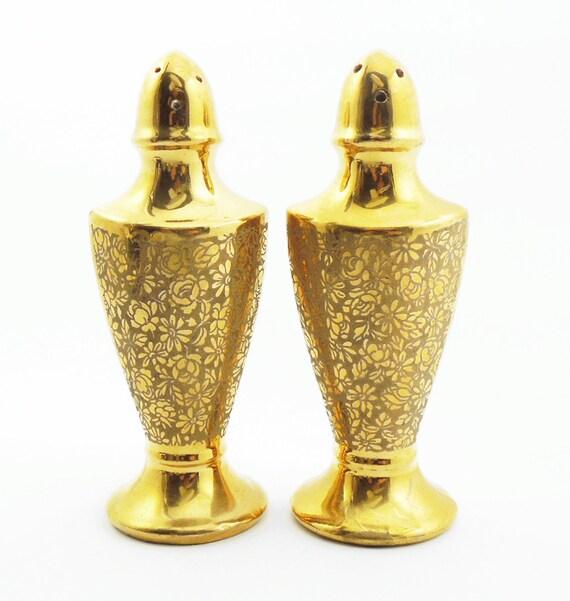 Salt And Pepper Shakers Gold Porcelain Salt And Pepper