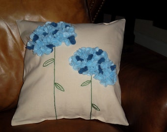 Felt  Hydrangea Pillow 14 X 14 pillow form included