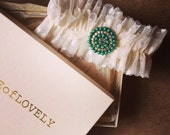 Bridal Garter: Vintage Emerald Green, Rhinestone Jewelry Piece, Ivory Feathers and Point d'Esprit