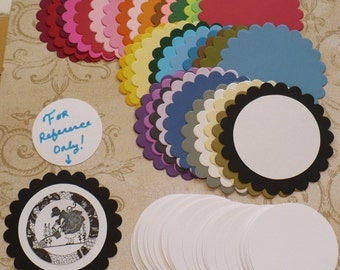 38 pc  Scallop Circle Cut pieces made from Sizzix die cut from Rainbow color cardstock paper plain white circles
