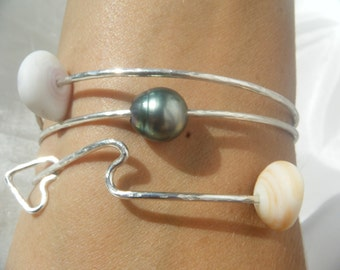 Custom Sterling Silver Love the Waves Bangle