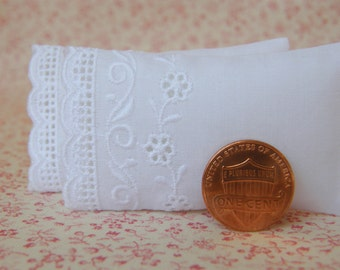 Dollhouse Miniature Set of 2 White Pillows with Flower and Scroll Swiss Embroidery- 1/12 scale