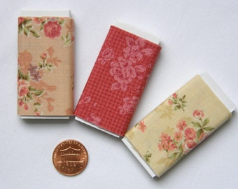Dollhouse Miniature Set of Three Bolts of Fabric - Mary Rose Assortment, 1:12 scale