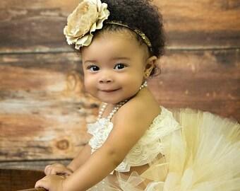Cake Smash Tutu Cake Smash Outfit Flower Girl Tutu Champagne Tutu Gold Tutu Baby Tutu Champagne Tutu And Flower Headband Newborn Photo Prop