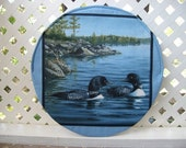 Steering wheel cover, Fabric steering wheel cover,  insulated shade cover, two ducks on a lake