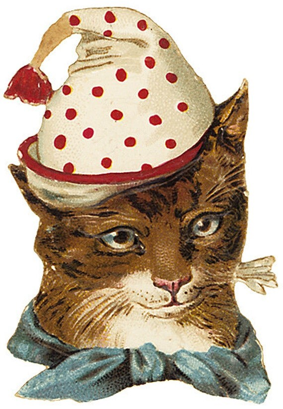 1 1/2 Fabric Cat Button - CLOWNING Around Cat in Hat
