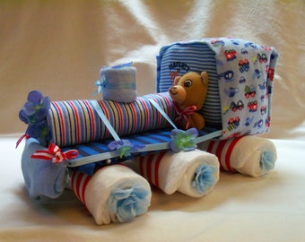 Baby Boy Diaper Train - an adorable baby shower gift, made to order