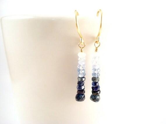 Ombre Sapphire Earrings, Shaded Blue Sapphire Earrings, September Birthstone Genuine Sapphire Earrings, Dainty 14k Gold Gemstone Earrings