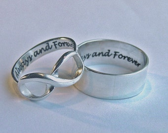 His and hers jewelry, Infinity ring set, always & forever rings, custom personalized rings, inscribed engraved, wedding engagement jewelry