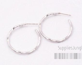 E161-MR// Matt Rhodium Plated Branch Circle Earring Post, 2pcs