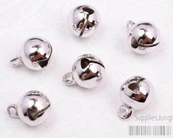 P404-R// Rhodium Plated Bell Pendant, 4pcs