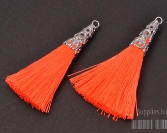 T003-02-R-NO// Original Rhodium Plated Cone Neon Orange 45mm Tassel Pendant, 2pcs