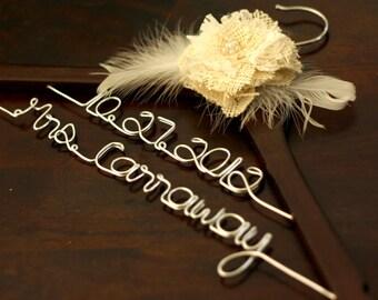 Double-Decker Walnut Wedding Hanger w/ Lace Burlap Flower - Personalized Bridal Dress Hanger, Wedding Dress Hanger, Customized Hanger