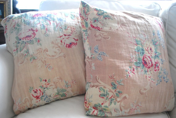 """Vintage Shabby Linen Pillow Covers - Set of 2 - 16"""" x 16"""""""