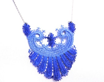 Lace Statement Necklace in Cobalt Blue