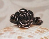 Gunmetal Wire Wrapped Rose Ring, Handcrafted Wire Wrapped Jewelry Handmade Wire Wrapped Jewelry