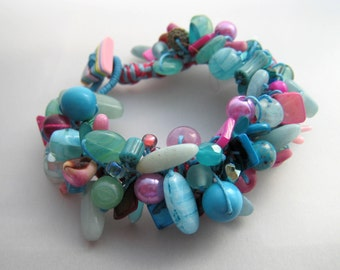 Turquoise and Pink Bead Party Beaded Bracelet OOAK
