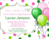 Pink She's About to Pop Baby Shower Invitation Baby Girl Printable Custom Invite