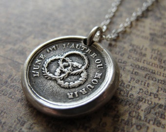 Wax Seal Necklace Wisdom Learning Bravery - antique wax seal charm jewelry with garland wreath by RQP Studio