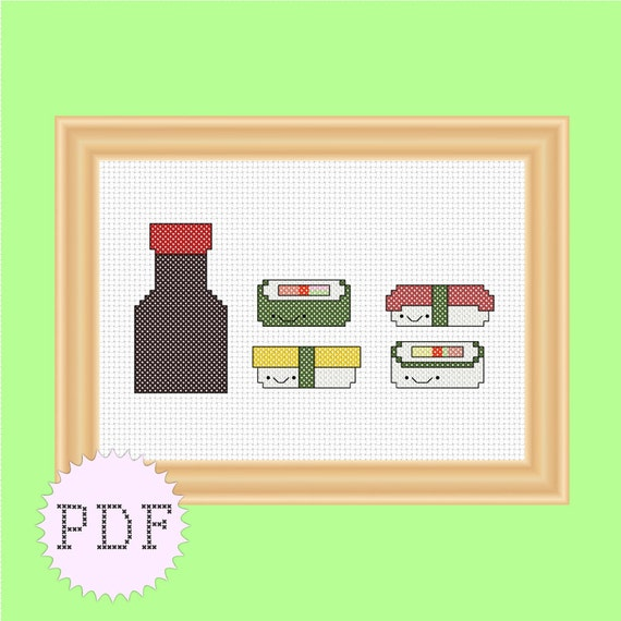INSTANT DOWNLOAD Kawaii counted cross stitch PDF pattern cute sushi and soy sauce