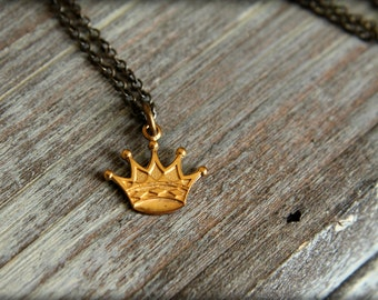 Raw Brass Crown Necklace