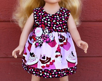 """Cupcake and Heart Ruffle Dress for 18"""" Dolls-Fits American Girl, Journey Girls and Madame Alexander Dolls"""
