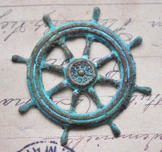 Steampunk pirate ship wheel stamping, honey cyan patina
